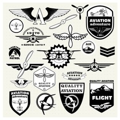 Monochrome  emblems, design elements , badges and logo Aviation