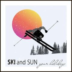 Modern poster. Skier flying against the evening sun