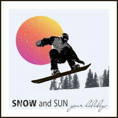 Modern poster. snowboarder flying against the evening sun