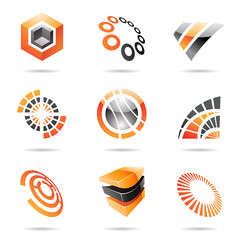 Various orange abstract icons, Set 7
