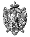 black and white drawing of heraldic sculpture eagle - 72461426