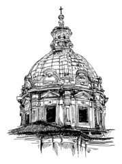 sketch drawing of old basilica from Rome