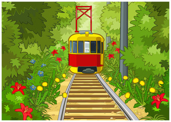 Tram in the park.