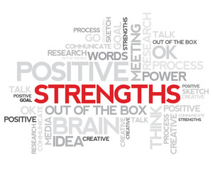 Strengths thinking info-text graphics word cloud