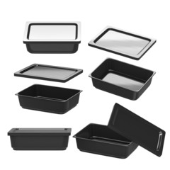 Black rectangle plastic container for food production with clipp