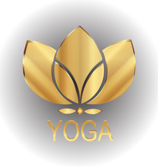 Lotus gold flower icon vector logo company design