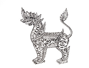Drawing of lion,Thai traditional art