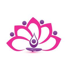 Lotus pink flower symbol vector logo design