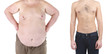 Health and fitness concept. Before and after weight loss by