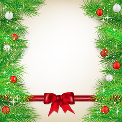 Christmas background with bow, balls and spruce twigs