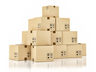 Cardboard boxes on white background, 3d illustration