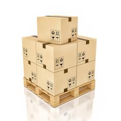 Cardboard boxes on wooden palette , 3d illustration