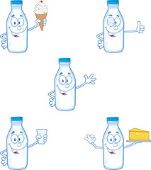 Milk Bottle Character In Different Poses 1. Collection Set