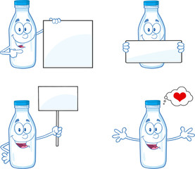 Milk Bottle  Character In Different Poses 2. Collection Set