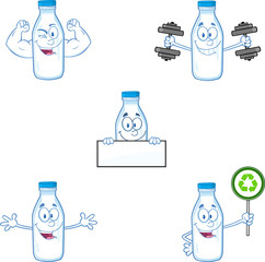 Milk Bottle Character In Different Poses 3. Collection Set