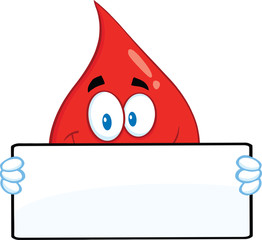 Smiling Red Blood Drop Character Holding A Banner