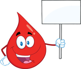 Red Blood Drop Cartoon Character Holding Up A Blank Sign