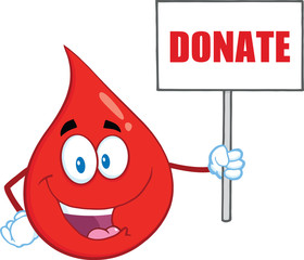 Red Blood Drop Holding Up A Blank Sign With Text Donate