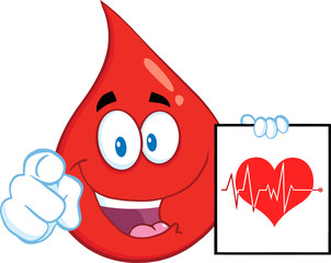 Red Blood Drop Pointing With Finger And Presenting Ecg Graph