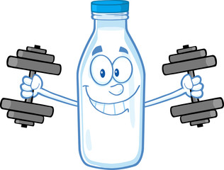 Smiling Milk Bottle Character Training With Dumbbells