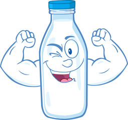 Winking Milk Bottle Character Showing Muscle Arms