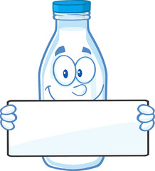 Funny Milk Bottle Character Holding A Banner
