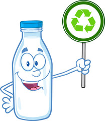Cute Milk Bottle Character Holding A Recycle Sign.