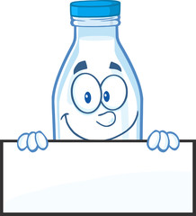 Smiling Milk Bottle Character Over A Blank Sign