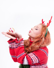 Beautiful woman with horns