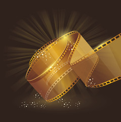 3d gold film reel , vector label sign