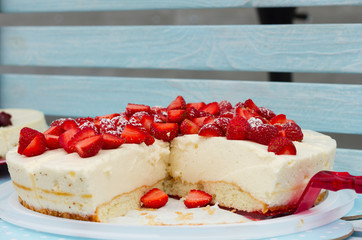Sweet cakes with strawberry