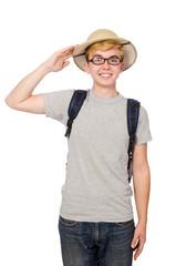 Man in safari hat in hunting concept