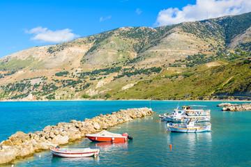 Greek fishing boats in port of Zola village, Kefalonia island