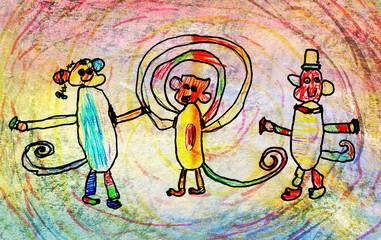 children's drawing of three monkeys