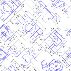Seamless background of engineering drawings of parts. Vector