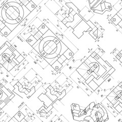 Seamless background of engineering drawings of parts. Contour