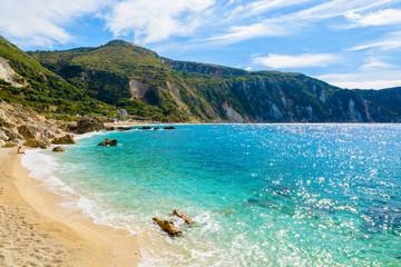 Sandy beach and turquoise sea in Petani bay, Kefalonia island