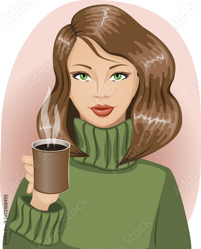 Girl in warm green sweater holding a cup of hot drink