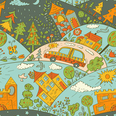 Seamless pattern with colored houses
