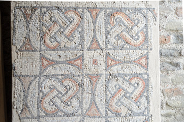 Mosaic flooring exposed in theodoric palace, Ravenna