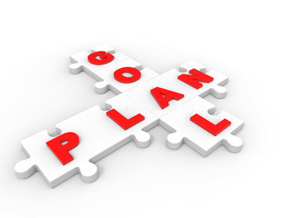 plan goals puzzle pieces 3d design