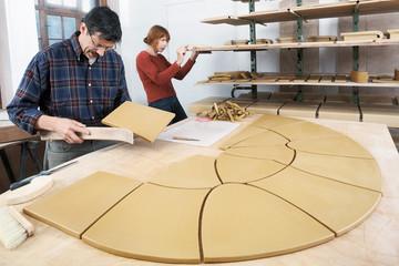 Working in the ceramic studio