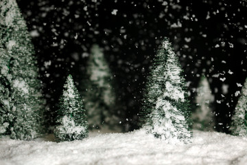 Snowing winter background