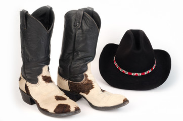 Cow Hide (Hair-On) Cowboy Boots and Stetson Cowboy Hat.
