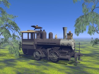 old neglected locomotive - 3d render