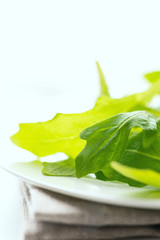 Fresh arugula leaves vertical studio