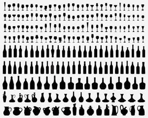 Black silhouettes of glasses and bottles of wine, vector