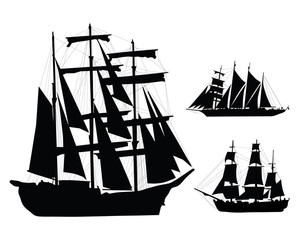 Black silhouettes of ships, vector illustration