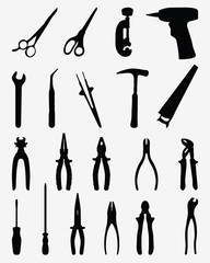 Silhouettes of various tools, vector