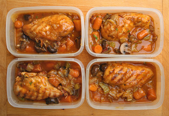 Chicken Stew Portions Ready For Freezer